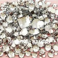 Mix Size Clear Round Acrylic Loose Non Hotfix Flatback Rhinestones mix Nail Art Crystal Stones For Wedding Clothing Decorations