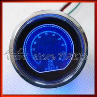 "SPECIAL OFFER Original Logo 52mm 2"" Dimmable Red / Blue LCD PSI Digital Oil Pressure Gauge With Oil Press Sensor"