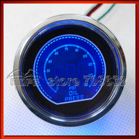 "Original Logo 52mm 2"" Dimmable Red / Blue LCD PSI Digital Oil Pressure Gauge With Oil Press Sensor"