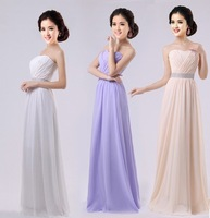 Prom Dresses 2013 Long Hot Selling Tube Top / Handmade Flower /  Six Colors / Silk Chiffon / Evening Long Dress Party Dress