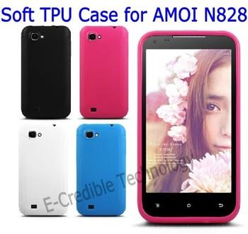 Free shipping 2pcs/lots soft silicone TPU case cover for AMOI N828 Amoi Big V