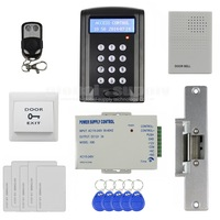 DIY Remote Controller ID Card Password Keypad Access Control Security System Kit + Strike Lock + Door Bell New
