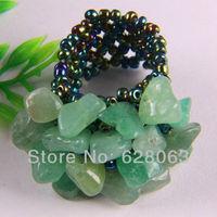 Free shipping Elastic Green Aventurine Bead Finger Ring Size 7-9 X011