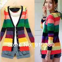 New spring summer Women Sweaters Colorful Stripes V-neck Crochet Knitted female tricotado Cardigan 2014 Women Fashion Outerwear