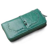 high quality long design fashion crocodile pattern oil wax Cowhide Genuine leather purse wallet bag for women