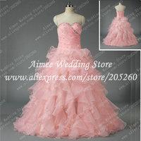 New Fashion Organza Pink Beading Long Ball Gown Evening Dresses Free Shipping U014