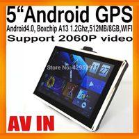 """DHL 5""""HD Android Car Portable GPS Navigator 800x480 Boxchip A13 AV IN 1.2G 512MB/8GB WIFI FMT 2060P Video External 3G 20pcs/lot"""