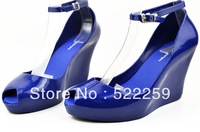[(My God)] Free shipping 2013 new Candy color melissa jelly shoes open toe high-heeled wedges female sandals plastic rain boots