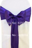 Wholesale 100pcs Purple Satin Chair Sashes Bows Ribbon 15cmX275cm Wedding/HOT/Free shipping