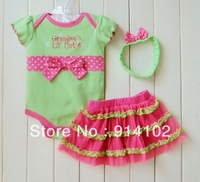 Retail 1set  Baby girls 3 Piece Suits short Romper +Tutu Skirt + Headband Light green girls summer sets Drop shipping