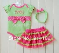 Retail 1set  Baby girls 3 Piece Suits short Romper +Tutu Skirt + Headband Light green girls summer sets Drop shipping