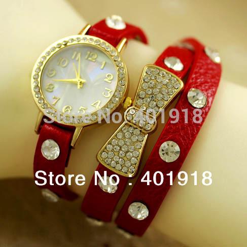2014 Hot Sales Retro Punk Styles Rivet Strap Girls & Women Genuine Leather Butterfly Rhinestone bracelet Dress Watch(China (Mainland))