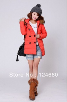 New women clothing winter coat  2013 large detachable collars the leisure long double-breasted outerwear women's down jacket
