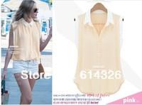 2014 Fresh Lady Casual Chiffon Blouses Sleeveless Color Block Decoration All-match Shirt Women Solid Slim Blouse