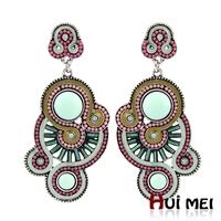 New Women Classic Vintage Ethnic Women Candy Resin Beads Enameling Hollow Earrings Jewelry