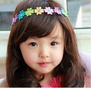 Wholesale Korean Fashion Baby Colorful fabric Flowers Hairband/headband/hair ribbon, Free Shipping 1809K
