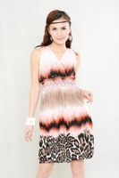 X27 Free Shipping [ Wholesale & Retail ] Fashion Bohemia V-Neck Stripy Colorful Beach Summer Dress