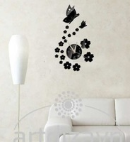 Free shipping 3d Best home decoration !mirror wall clock .DIY clock,Unique gift !The butterfly and flowersZ052