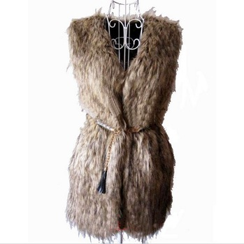 hotsell! S~L Women Faux Fur Vest Big Large Long Vest Slim Sleeveless women Fur Coat