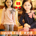 5 Pcs Lot Hot 2013 New Fashion The Spring Autumn Kids Baby Girl Striped Bow Pink Blue Dress + Stripe 100% Cotton Legging Suits