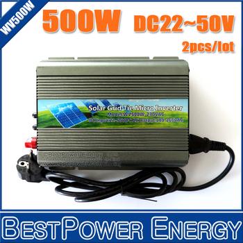 2PCS X 500W Pure Sine Wave Inverters, On Grid Inversor DC22-50V Grid Tie Inverter Suitable for 500-600W 24V 36V Solar Panels