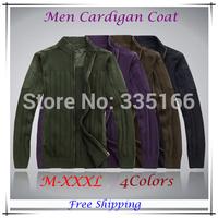 HOT Selling Mens Cardigan Sweater Black/Army Green/Coffee,  Warm Unique Sweaters Coat With Zipper  M--XXXL Plus Size  #JM09403