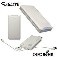Free shipping 6000mAh Bulit in cables External power bank charger