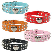 (5 Colors) Fashion Soft Pu Leather Sweet Heart Charm 2 Rows Blingbling Rhinestones Puppy Dog Collar Crystal Pet Collar