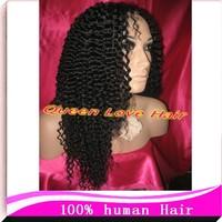 "U Part  Wig Brazilian Human Wig Hair AAAA Grade FREESHIPPING ! Kinky Curly Half  WigsJet Black 12""-26""130%-150% Density instock"