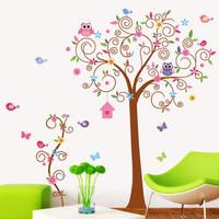 Cartoon Animal Owl Squirrel Bird Flower Tree Wall Stickers Decor Art Mural Decal Nursery Bedroom Stickers Free Shipping