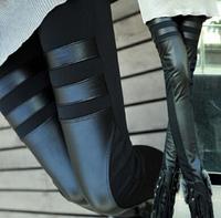 Fashion Stretch Black Faux Leather Leggings Leather Pants Women's Skinny Patchwork Leggings Black