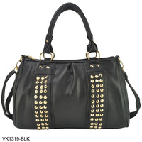 3 Color New Free Shipping 2013 Fashion PU Leather Ladies Handbags Stud Women's Handbag Rivet Shoulder Bags VK1319