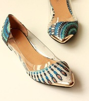 2014 New Arrival Korean Fashion Women's Casual Floral Print Metal Decorative Pointed Toe Flats Shoes Free Shipping