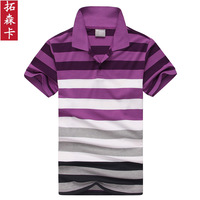 Free Fhipping 2013 Summer New Gradient Stripes Lapel Leisure POLO Men's Short Sleeve  Man Paul Unlined Upper Garment