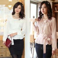 Classic Fashion Women Career Chiffon Blouse Size S-2XL Smart Waist Rayon Sweet Lady White & Pink Casual Dress Shirts