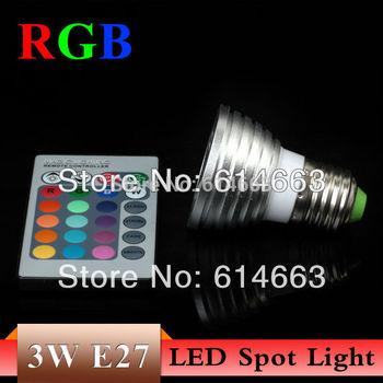LED RGB 3W E27 E14 GU10 GU5.3 AC85~265V 16CLOUR 3W MR16 DC12V LED Bulb Light Spot Light LED Light Lamp with 5years Warranty