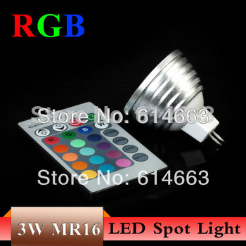 Free Shipping  RGB 3W  MR16 DC 12V 16Color LED Bulb Light Spot Light LED Light Lamp  with Remote Controller