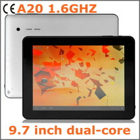A20 Dual Core 9.7 inch tablet pc 1.6GHZ 8GB 1GB wifi 4400mAH Android 4.2 HDMI IPS 1024*768 IPS 10-point touch capacitive screen