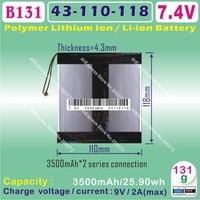 [B131] 7.4V,3500mAH,[43110118]  PLIB ( polymer lithium ion battery ) Li-ion battery for tablet pc,mp4,cell phone,speaker,PIPO M3