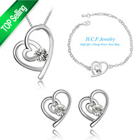 Free shipping 2014 New Hot Fashion Jewelry Set 18K GP Christmas Gifts Special Off three sets of Austrian Accessories Heart Set