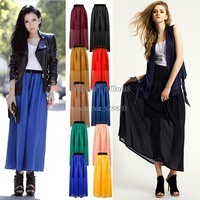 4pcs/lot drop shipping 2013 new Fashion Women's Chiffon Pleated Retro Long Maxi Elastic Waist Skirt 10colors 14448