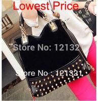 2014 new female trunk bag rivet package stitching flannel bag shoulder bag fashion messenger handbag  MX34
