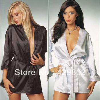High Quality Sexy Satin Lingerie Chiffon Sleepwear Nightdress Robe Pajamas Women Free Shipping