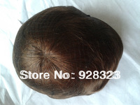 "7""x9"" Mono Base Pu Around Men's Toupee  and Swiss lace Toupees Natural Straight Hair Colour 1B In Stock Toupees"