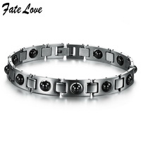 2014 New Fashion Italy Style Love Bracelet  316L stainless steel bracelet, magnetic energy with health care stone for men 635