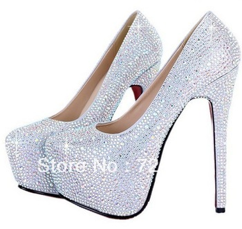 2013 New Women's Platform Pumps 11cm/14cm Wedding Shoes Crystal Shoes High Heels Rhinestone Shoes