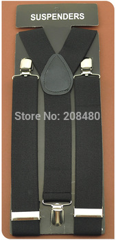"-Men's Unisex Clip-on Braces Elastic 3.5cm Wide ""Черный"" Suspenders/gallus ..."