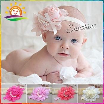 Pearl chiffon lace flowers elastic infant newborn baby girl headbands;Toddler band hair hairband #2B2272 10pcs/lot (4 Colors)