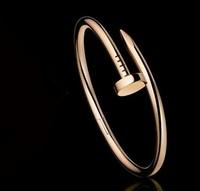 2014 Fashion jewelry 14k rose gold Birthday A nail screw titanium Bangles bracelet for women Free shipping