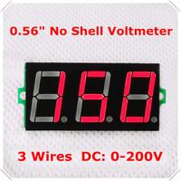 """0.56"""" Digital Voltmeter DC 0-200V No shell 3 digit 3 wires Voltage Panel Meter led Display Color : Red  [ 50 pieces / lot]"""